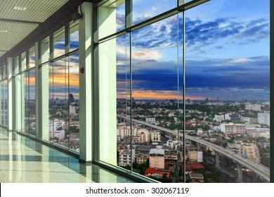 Windows in modern office building