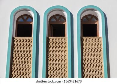 Windows of the Mosque in Dakhla. Dakhla, Western Sahara, Morocco.
