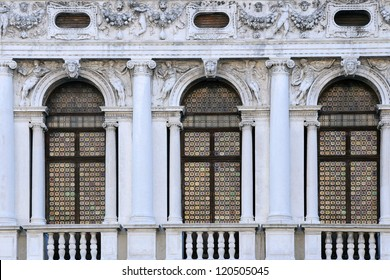 Windows of National Library of St Mark's in Venice, Italy