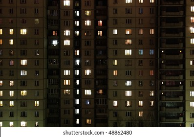 Windows of night house