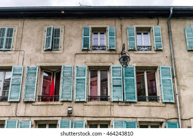 Windows of old centrel in Nancy, France, summer day