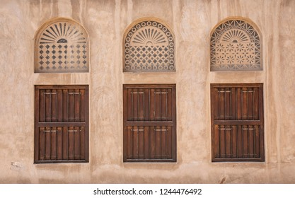 windows of an old Emirati House in Al Seef, Dubai