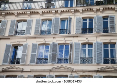 windows of old houses paris. France, Europe