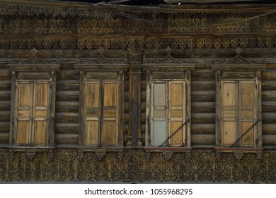 Windows of old wooden house in Irkutsk, Siberia, Russia