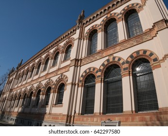 Windows on the facade of the Natural History Museum, located in the Indro Montanelli Gardens, near Porta Venezia, Milan, Italy