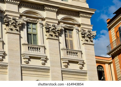Windows of the Palazzo Poli (Poli Palace). Rome, Italy