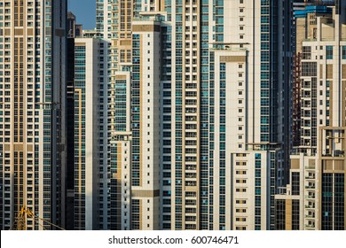 Windows of residential and hotel buildings at a densely populated area