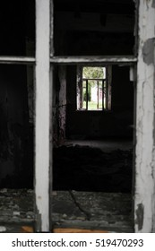 Windows in ruined house