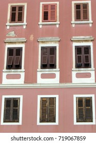 Windows of traditional house in city of Rovigno, Croatia