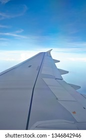 Windows view of flight on wing side of the plane