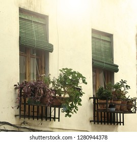 windows of a village house in Spain
