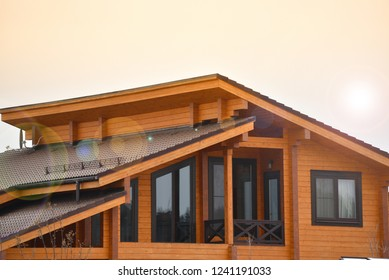 Windows in a wood building. Natural photo.