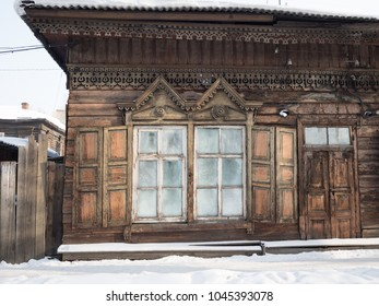Windows of wooden house