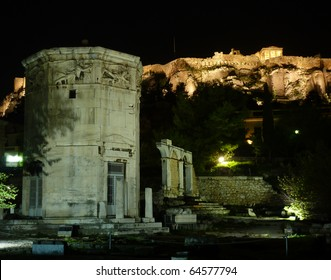 winds tower in Roman forum of Athens under Acropolis, night view