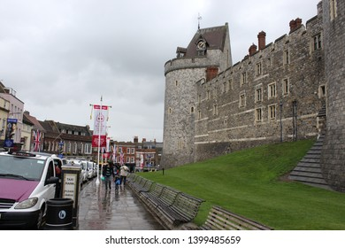 Windsor, Berkshire, England - 9 May 2019: Scene the day after Harry & Megan presented their son, Archie, to the public at Windsor Castle.  It was a rainy day and few visitors in sight.  Windsor Castle