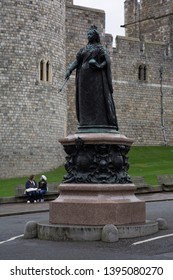 Windsor, Berkshire / England - March 20 2017:  Statue to commemorate the fiftieth  year of the glorious Reign of Victoria Queen and Empress June 20 1887 Outside Windsor Castle.