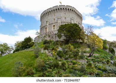 WINDSOR, BERKSHIRE. ENGLAND UK- APRIL 22 2016 : Windsor castle  is a royal residence at Windsor in the English county of Berkshire.The original castle was built in the 11th century.