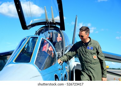 WINDSOR, CANADA - SEPT 10, 2016:  View of canadian military Jet Trainer and pilot in exhibit at the Windsor Aviation Museum.