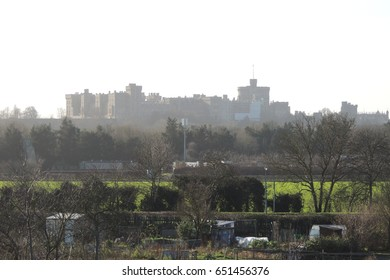 Windsor castle, looking south over allotments from Slough in Berkshire