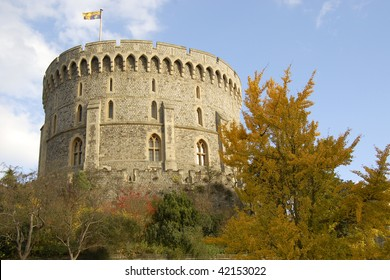 Windsor castle with trees on the front in London