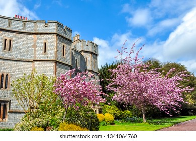 Windsor castle walls in spring, London suburbs, United Kingdom