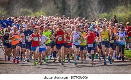 Windsor, England - 14/04/2018 - People running half Marathon