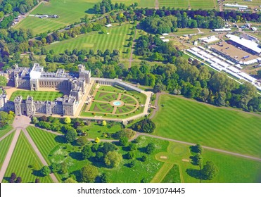 WINDSOR, ENGLAND -15 MAY 2018- Aerial view of Windsor Castle and staging for the royal wedding of Prince Harry and American actress Meghan Markle to take place in May 2018.