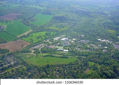 WINDSOR, ENGLAND -29 MAR 2018- Aerial view of Legoland Windsor, an amusement park based on Lego bricks located in Windsor, near London, United Kingdom.