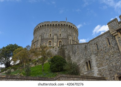 WINDSOR, ENGLAND - APRIL 08: Outside view of Medieval Windsor Castle on April 08, 2016, Windsor, England. Windsor Castle is a royal residence at Windsor in the English county of Berkshire.