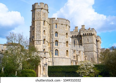 Windsor, England - April 12th 2016: Windsor Castle the site of the British royal wedding for 2018. King Edward III Tower and St George's Gate