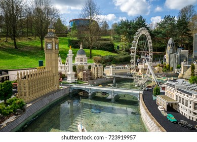 Windsor, England, April 2017: Big Ben and London Eye models in Legoland Windsor miniland