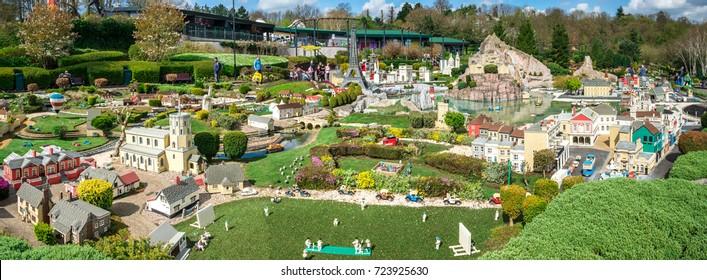 Windsor, England, April 2017: Panorama of LEGO miniland in Legoland Windsor theme park