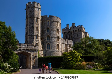 WINDSOR, ENGLAND - AUGUST 26: Outside view of Medieval Windsor Castle on August 26, 2019, Windsor Castle is a royal residence at Windsor in the English county of Berkshire.