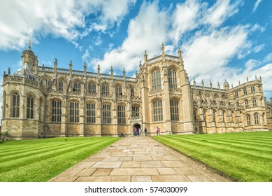 WINDSOR, ENGLAND - JULY 10, 2016 : Entry way to St. George Chapel at Windsor Castle on July 10, 2011 in Windsor, England. Chapel was built in 14th century and it's placed on the Windsor castle area.