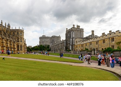 WINDSOR, ENGLAND - JULY 21, 2016: Part of the Windsor Castle, Berkshire, England. Official Residence of Her Majesty The Queen