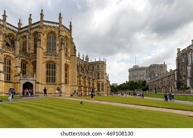 WINDSOR, ENGLAND - JULY 21, 2016:  St George's Chapel, Lower Ward, Windsor Castle, Berkshire, England. Official Residence of Her Majesty The Queen