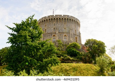 WINDSOR, ENGLAND - JULY 21, 2016: Round Tower of the Windsor Castle, Berkshire, England. Official Residence of Her Majesty The Queen