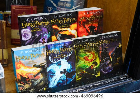 WINDSOR, ENGLAND - JULY 21, 2016: Books about Harry Potter in a shop in Windsor. Harry Potter is fictional character created by Joanne K Rowling