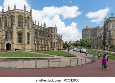 WINDSOR, ENGLAND - JUNE 09, 2017: People visiting St. George's Chapel at Windsor Castle. St George's Chapel is the  marriage location of Prince Harry and Meghan Markle in may 2018.