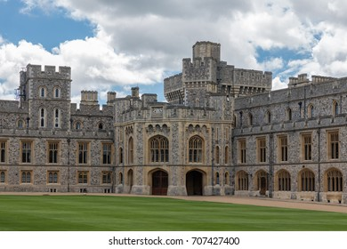 WINDSOR, ENGLAND - JUNE 09, 2017: Courtyard garden and buildings of Windsor Castle near London, England, Marriage location of Prince Harry and Meghan Markle in May 2018