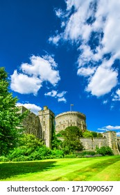 WINDSOR, ENGLAND - June 21, 2018: Architectural fragments of Medieval Windsor Castle. Windsor Castle is a royal residence at Windsor in the English county of Berkshire.