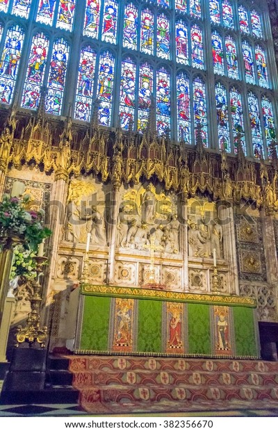 WINDSOR, ENGLAND - JUNE 5, 2015:  Inside St. George Chapel in Windsor Castle, royal residence at Windsor in the English county of Berkshire.