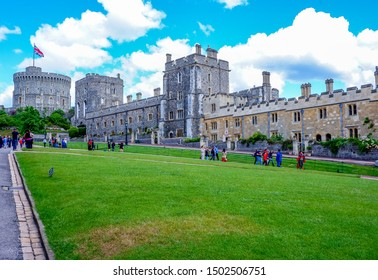 "Windsor, England - JUNE 8, 2019: view of Windsor castle ""The round tower"" in summer season, Windsor Castle is a royal residence at Windsor in the English county of Berkshire."