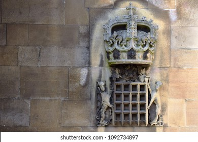 WINDSOR, ENGLAND - MART 07, 2018: Bas-relief on the wall of  St. George's chapel, Windsor Castle. St George's Chapel is the marriage location of Prince Harry and Meghan Markle in may 2018.