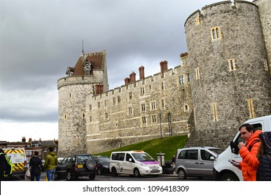 WINDSOR, ENGLAND - MART 07, 2018: View of Medieval Windsor Castle, where the wedding of Prince Harry and Meghan Markle took place.