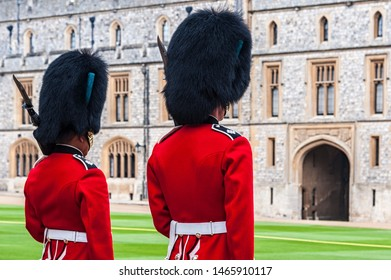 WINDSOR, ENGLAND -MAY, 24 2018: Changing of the guards at Windsor Castle, the residence of the British Royal Family at Windsor in the English county of Berkshire, United Kingdom