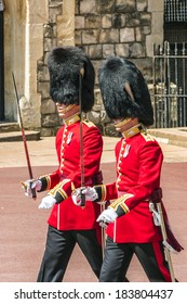 WINDSOR, ENGLAND - MAY 27, 2013: Changing Guard Ceremony takes place in Windsor Castle. British Guards in red uniforms are among the most famous in the world.