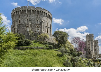 WINDSOR, ENGLAND - MAY 27, 2013: Outside view of Medieval Windsor Castle. Windsor Castle is a royal residence at Windsor in the English county of Berkshire.