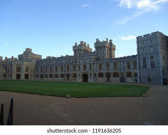 WINDSOR, ENGLAND -NOVEMBER 1, 2014: View of Upper Ward (Quadrangle) in Medieval Windsor Castle. Windsor Castle is a royal residence at Windsor in the English county of Berkshire.