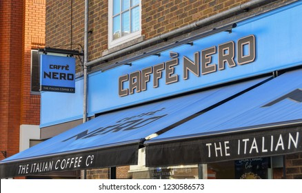 WINDSOR, ENGLAND - NOVEMBER 2018: Exterior of a branch of Caffe Nero coffee shop in Windsor town centre.
